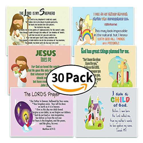 NewEights Christian Postcards for Kids Boys Girls (30-Pack) - Scripture Bible Verses - Psalm 23 - Great Stocking Stuffers for Easter Baptism Thanksgiving Christmas Sunday School - Prayer Cards (Christmas Scriptures Kids For At)