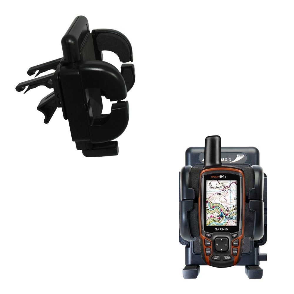 Gomadic Air Vent Clip Based Cradle Holder Car / Auto Mount suitable for the Garmin GPSMAP 64 / 64s / 64st