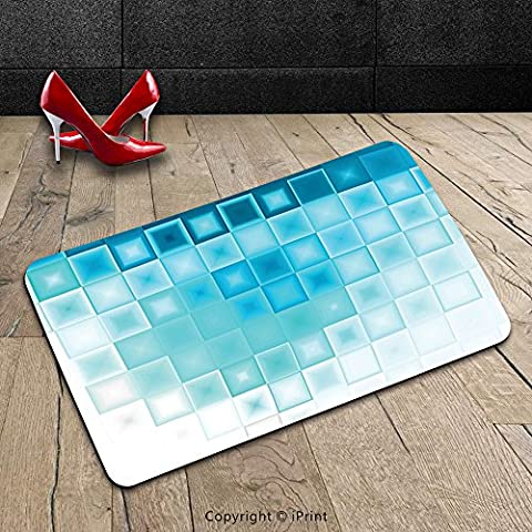 Custom Machine-washable Door Mat Abstract Mosaic Style Soft Toned Fractal Square Shapes with Charming Light Effects Image Aqua Sky Blue Indoor/Outdoor Doormat Mat Rug - Mosaic Outdoor Rug
