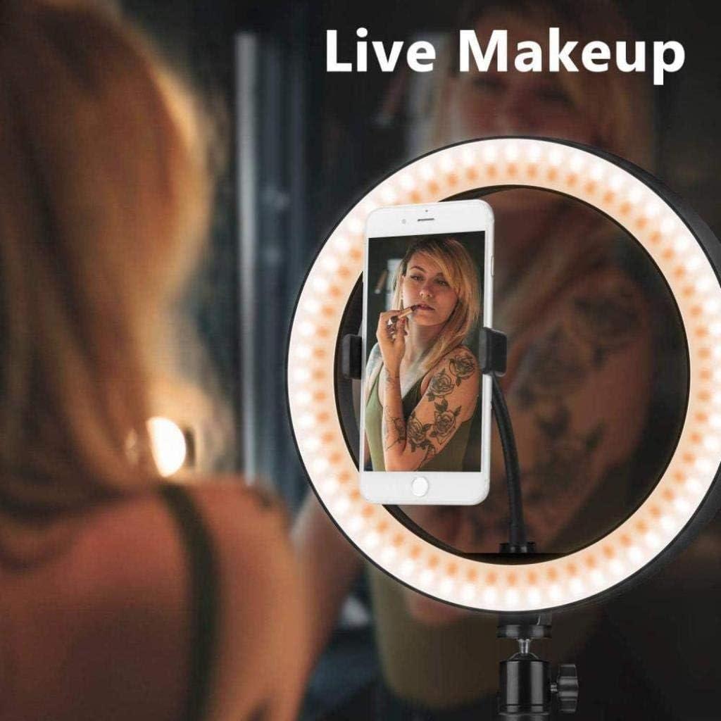 DZX Anneau Lumineux /à LED avec Support et Support de t/él/éphone 10 Anneaux /à intensit/é Variable R/écepteur Bluetooth 12W 3 lumi/ères pour tr/épied de Maquillage Selfie et vid/éo 106cm Kit d/é