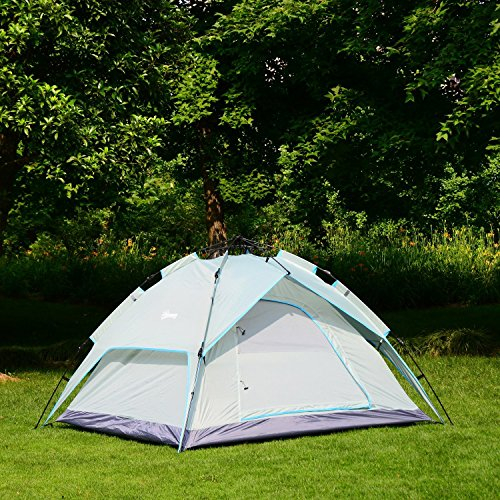 Outsunny 7' x 6' 2-Person Instant Tent with Rainfly - Green/Sky Blue