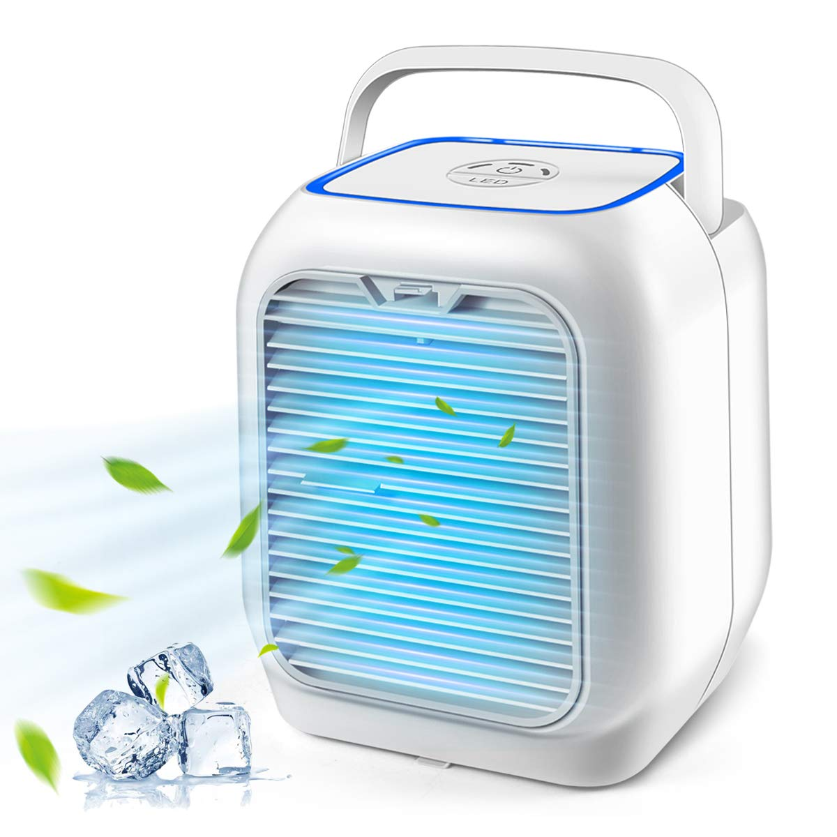 Personal Air Conditioner Fan, Cakie Air Personal Space Cooler Small Desktop Fan Quiet Personal Table Fan Mini Evaporative Air Circulator Cooler Humidifier Bladeless Quiet for Office, Dorm, Room, Outdo