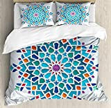 Arabian King Size Duvet Cover Set by Ambesonne, Illustration of Old Eastern Arabesque Ethnic Antique Oriental Damask Round Motif, Decorative 3 Piece Bedding Set with 2 Pillow Shams, Multicolor