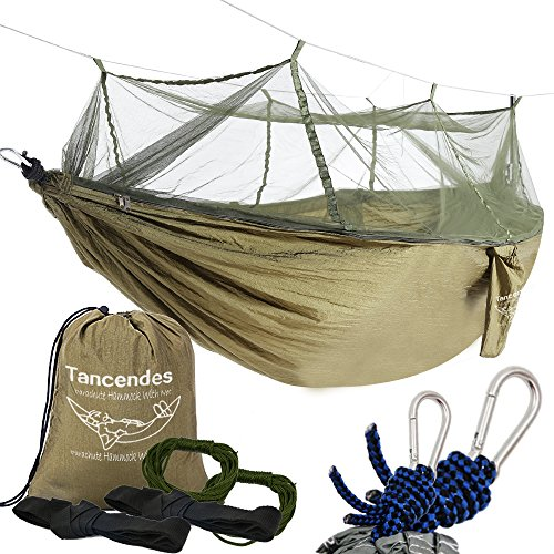 Camping Hammock, Tancendes Hammock with Mosquito Net Bed Widened Parachute Fabric Double Hammock (Army Green)