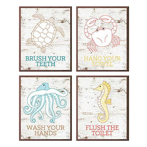 Silly Goose Gifts Fun Beach Ocean Life Brush Wash Hang Flush Wall Art Prints (Set of 4) -