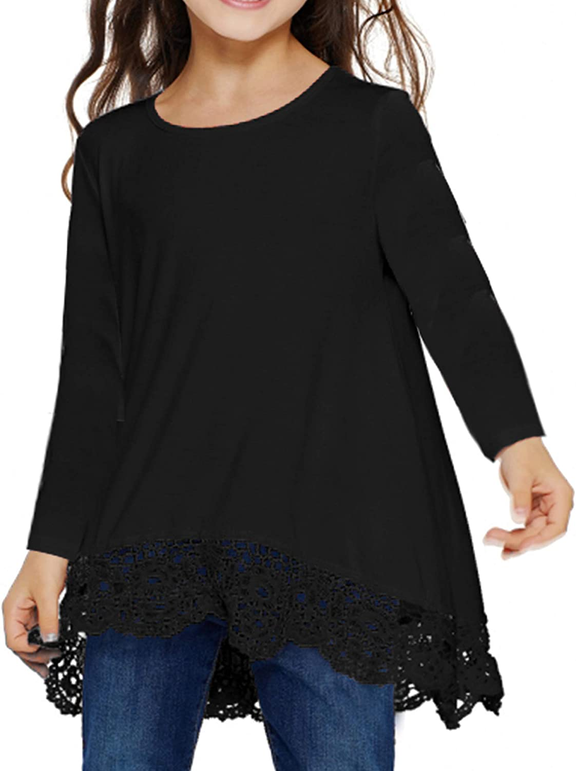 Arshiner Girls Casual Tunic Tops Long Sleeve Loose Soft Blouse T-Shirt for 4-13 Years: Clothing