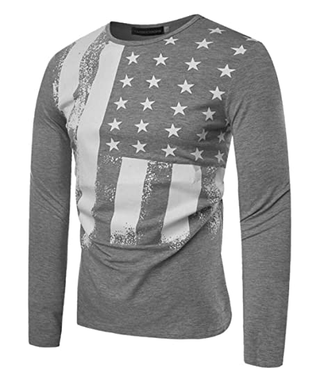XiaoTianXin-men clothes XTX Mens Long Sleeve American Flag Printed Pullover  Shirts Tops Grey US 9aa597967