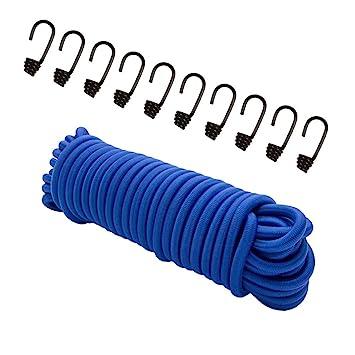 30 W/ürgeklemmen Gummileine Planenseil Seil Plane in Weiss Blau 6mm Expanderseil 20m Gummiseil