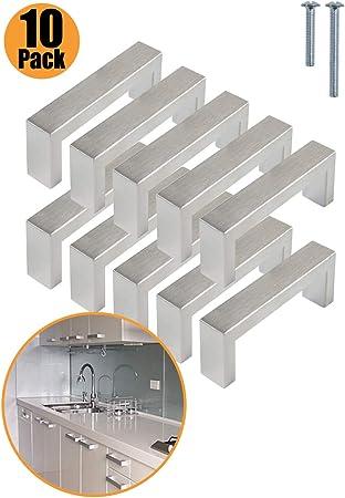 Tornillos incluidos PinLin 10 Piezas Tiradores Cocina Solo agujero Blanco Tiradores Armario Acero Inoxidable Tiradores Muebles