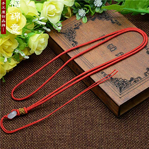 FidgetKute 5Pcs Natural Jade Beads Red Circle String Cord Rope for Pendant Necklace A215