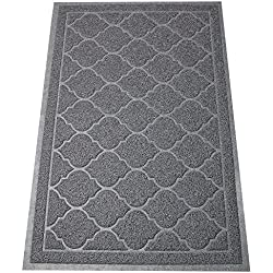 "PetLike BPA Free Premium Cat Litter Mat -Extra Large Scatter Control Kitty Litter Mats ,Cat Litter Trapper-Soft to Paws (23.5""x35.5"", Dark Gray)"