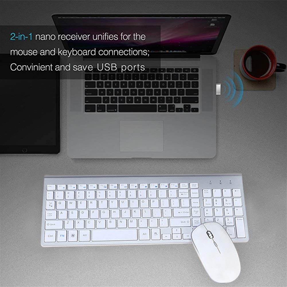 Keyboard and Mouse Set Mini Ultra-Thin Mouse and Keyboard Office HENGTONGTONGXUN 2.4G Wireless Mouse and Keyboard Set Color : White Mouse and Keyboard Set Game Dedicated