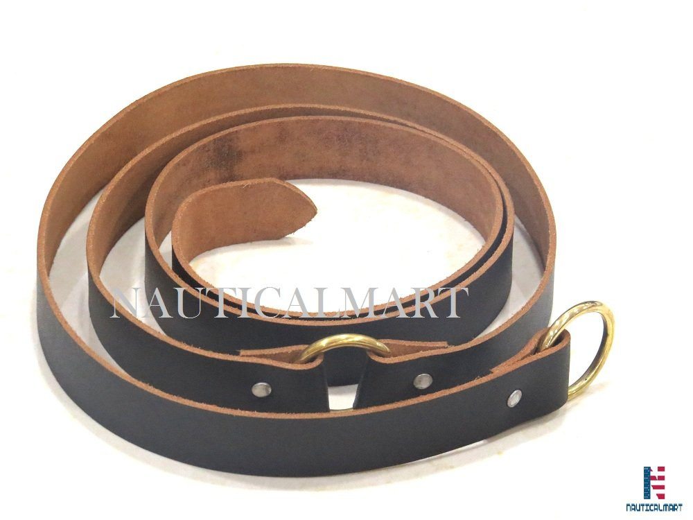 NAUTICALMART Medieval Black Ring Belt from Quality Leather with Brass Ring