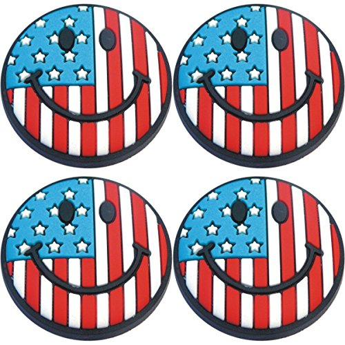(Four (4) of USA Flag Smile Shoe Charms for Wristbands and)