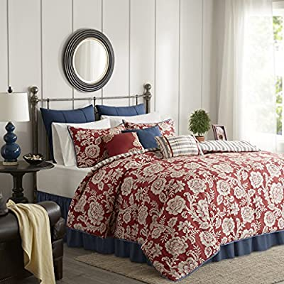 Madison Park Lucy Queen Size Bed Comforter Set Bed in A Bag - Red, Navy, Reversible Floral, Stripes – 9 Pieces Bedding Sets – Cotton Twill, Cotton Poly Blend Reverse Bedroom Comforters - 210TC cotton twill Printed Cotton/Polyester reverse - comforter-sets, bedroom-sheets-comforters, bedroom - 61oBY6NVjcL. SS400  -