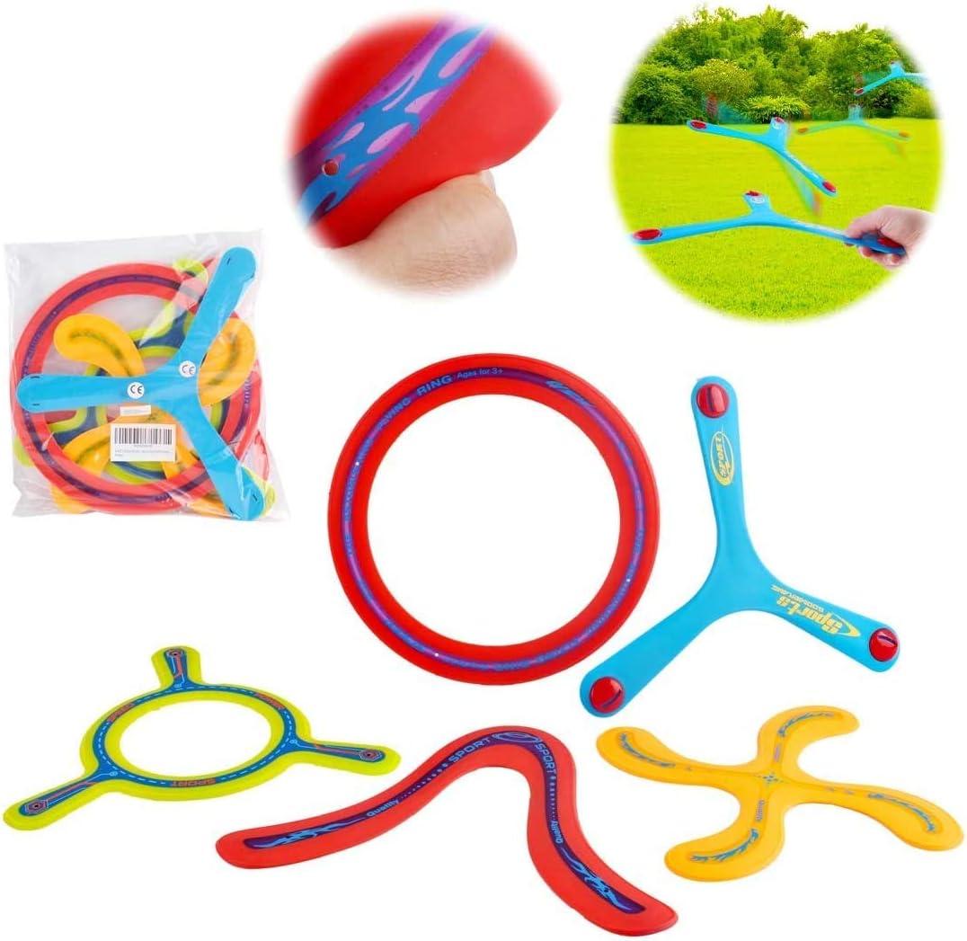 deAO Conjunto Boomerang de 5 Piezas para Principiantes Set de Bumerán Multicolor Actividades Deportivas Infantiles y en Familia al Aire Libre