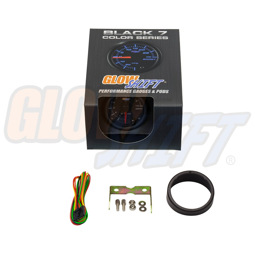 GlowShift Black 7 Color 10,000 RPM Tachometer Gauge Clear Lens Black Dial for 1-10 Cylinder Gas Powered Engines 2-1//16 52mm