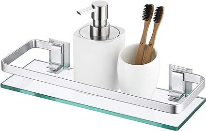 KES Estanteria Baño Aluminio Templado Estanteria Cristal Rectangular 8mm Extra Gruesa Montado en la Pared Plateado A4126A