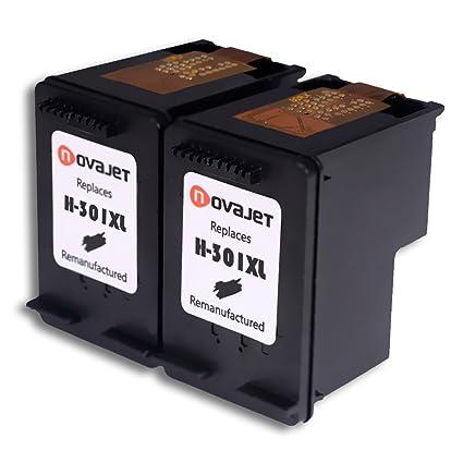 Novajet Remanufacturado HP 301XL Cartucho De Tinta (2 Negro) De Alto Rendimiento Compatible Con HP Deskjet 1000 1010 1050 2000 HP Envy 4500 5530 5532 ...
