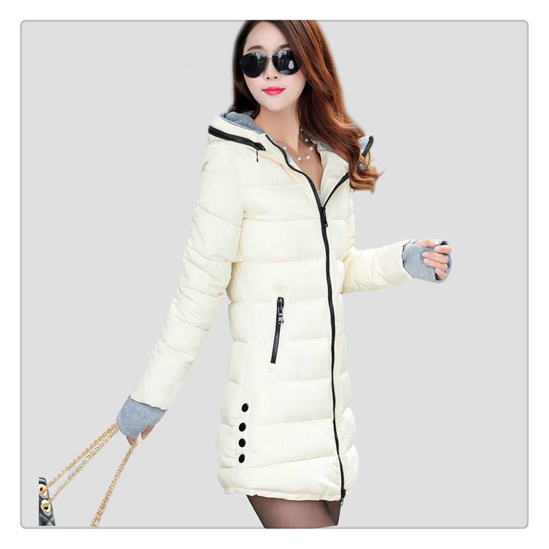 b3c63ea2a8 Nhequren Warm Winter Jackets Women Fashion Down Cotton Parkas Casual Hooded  Long Coat Thickening Zipper Slim Fit Plus Size Long Parka Cream White M at  ...