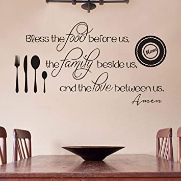 Amazon Com Flywalld Kitchen Wall Decal Christian Quote Sticker Religion Saying Restaurant Vinyl Art Mural Decor Bless The Food Before Us Arts Crafts Sewing