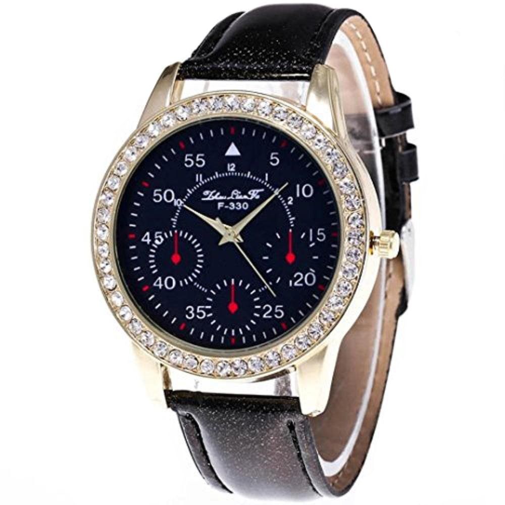 Women 's Watch、howstarオスとメスキャンディーカラーPUレザークォーツストラップ手首腕時計 ブラック ブラック B071P382GB
