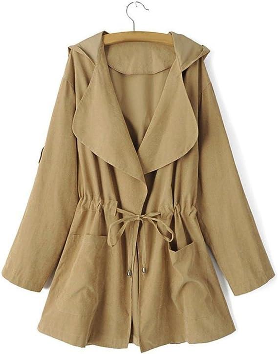 Trench coat à capuche Femmes, Toamen Veste Parka coupe vent Poches Cardigan Manteau mince Manche longue Mode Décontractée (S, Kaki)