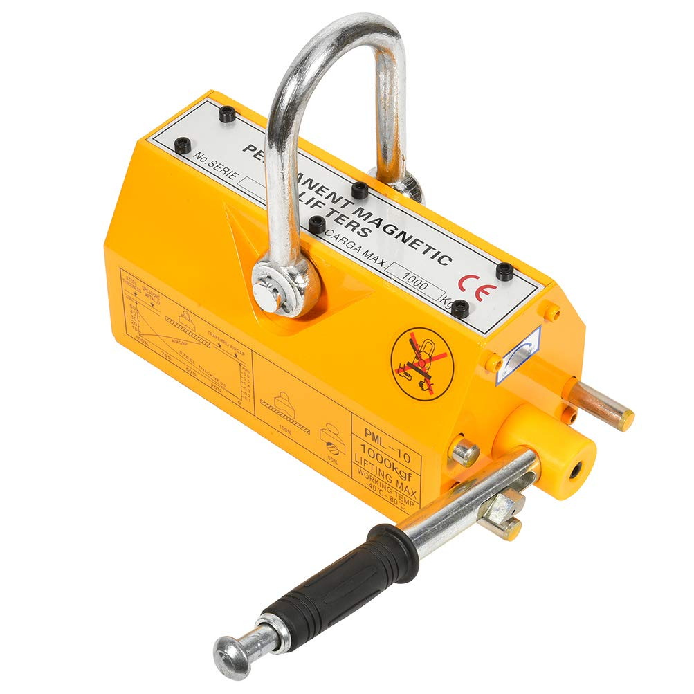 Yellow SCITOO 1000KG Permanent Steel Magnetic Lifter Heavy Duty Crane Hoist Lifting Tool 2200 lbs