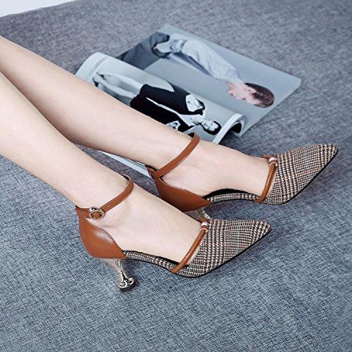 mujer alargada tacon hebillas y de cuatro Transpirable Moda alto tacones Sandalias elegante colores de zapatos caramelo 36 Treinta de Zapatos delgada 7 cm cabeza AJUNR H8PqXxwH