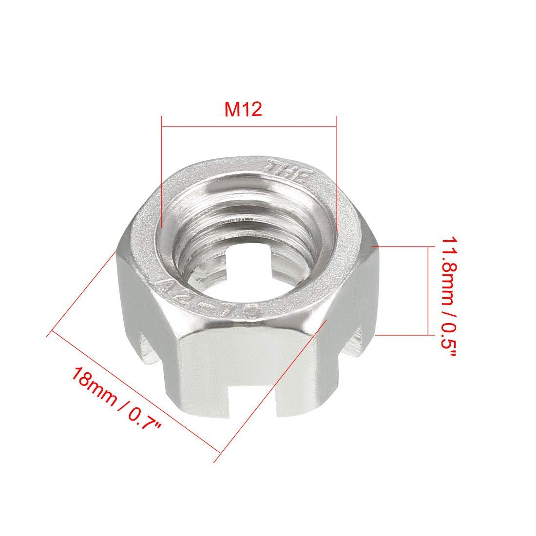 M12 x 1.75mm 304 Stainless Steel Slotted Hexagon Nuts Pack of 5