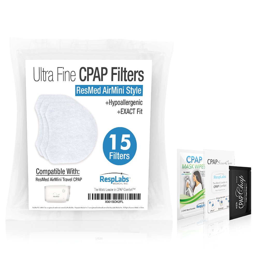ResMed AirMini Compatible CPAP Filters — Hypoallergenic, Ultrafine [15 Pack] for The Air Mini Travel Device   Machine, Masks & Equipment Supplies