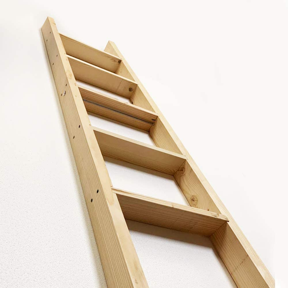 "Pine Wood Ladder, Library Ladder, Unassembled - TFK-LDR-MD4-6, 7, 8 Foot x 16"" Width - Hardware Included (7 FT)"