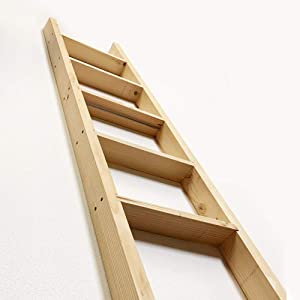 "Pine Wood Ladder, Library Ladder, Unassembled - TFK-LDR-MD4-6, 7, 8 Foot x 16"" Width - Hardware Included (8 FT)"