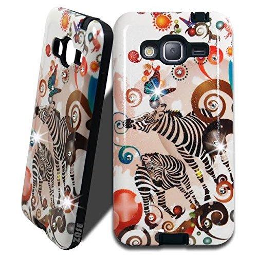 - Samsung Galaxy J3 J3V Case, Galaxy Express PRIME, J3 SKY, SOL, Galaxy Amp PRIME Case [Impact Shock Resistant] Slim Fit Diamonds Jewel Bling Glittery Glam Cover by Zase (Colorful Zebra Butterfly)