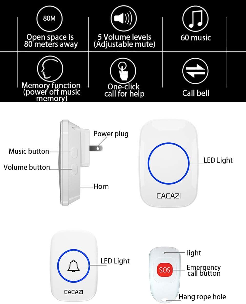 Cacazi C10 Smart Home Wireless Pager Türklingel Old Man Emergency Alarm 80m