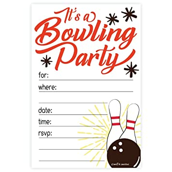 Amazon Com Bowling Party Invitations 20 Count With Envelopes
