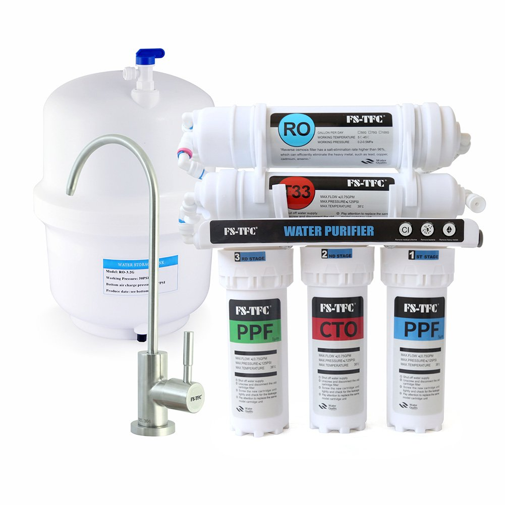 FS-TFC Reverse Osmosis 100 GPD 5-Stage Drinking Water Filter System Plus Extra Set of 4 Replacement Filter (FS-RO-100G-A)