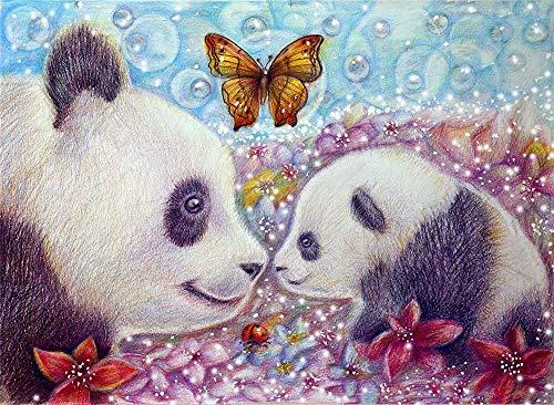5D Diamond Painting Kits for Adults Full Drill Diamond Colorful, Flower Butterfly Panda, 9.8 X 11.8 Inch(Frameless) -