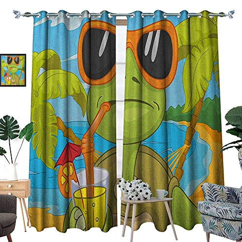 - Warm Family Turtle Patterned Drape for Glass Door Cool Sea Turtle with Sunglasses Drinking Cocktail at The Beach Cartoon Waterproof Window Curtain W108 x L84 Green Orange Pale Blue