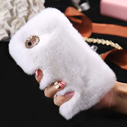 Cfrau Furry Case with Black Stylus for Samsung Galaxy S7,Winter Warmed Fashion Faux Rabbit Bunny Fur Fluffy Plush Soft Case with Cute 3D Crystal Bowknot,Pink