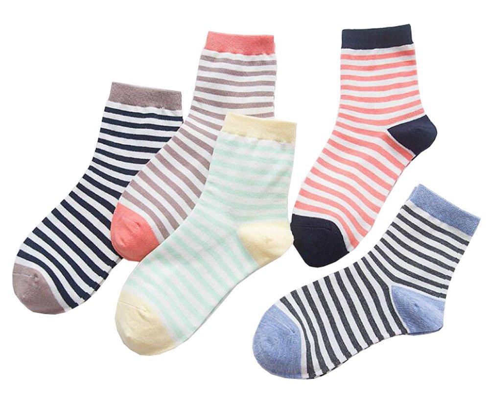 Mode bunten gestreiften Muster weichen Frauen Socken 5-Pack Black Temptation