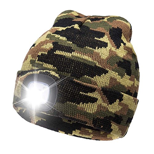 Ultra Bright LED Unisex Lighted Beanie Cap/Winter Warm hat (USB charging) - With Running Hat