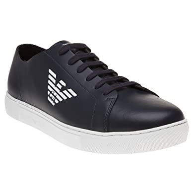 Mens Rubber-Detailed Leather Sneakers Emporio Armani UzOO6
