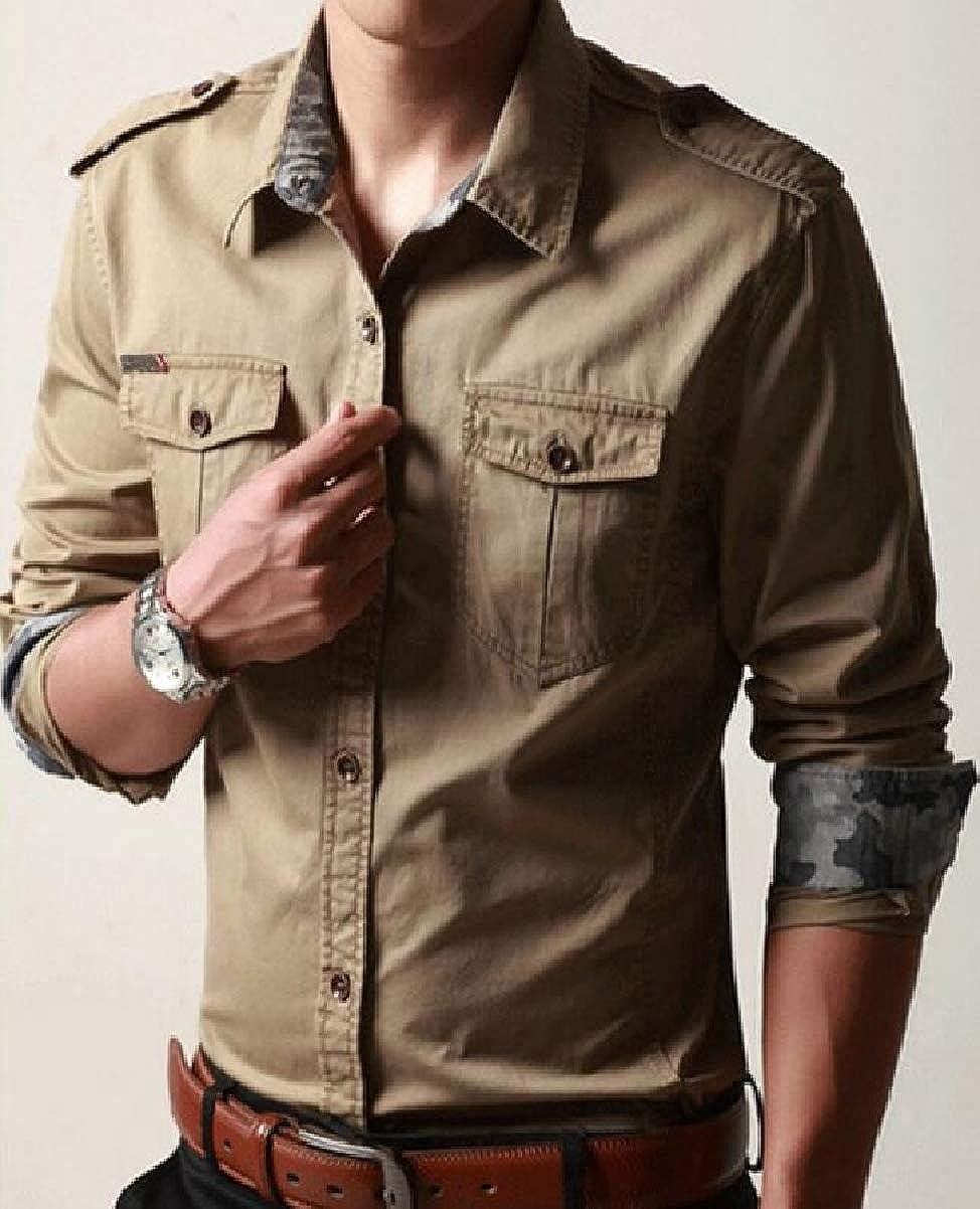 CBTLVSN Mens Button Down Long-Sleeved Tactical Slim Button Front Shirt Shirts Tops