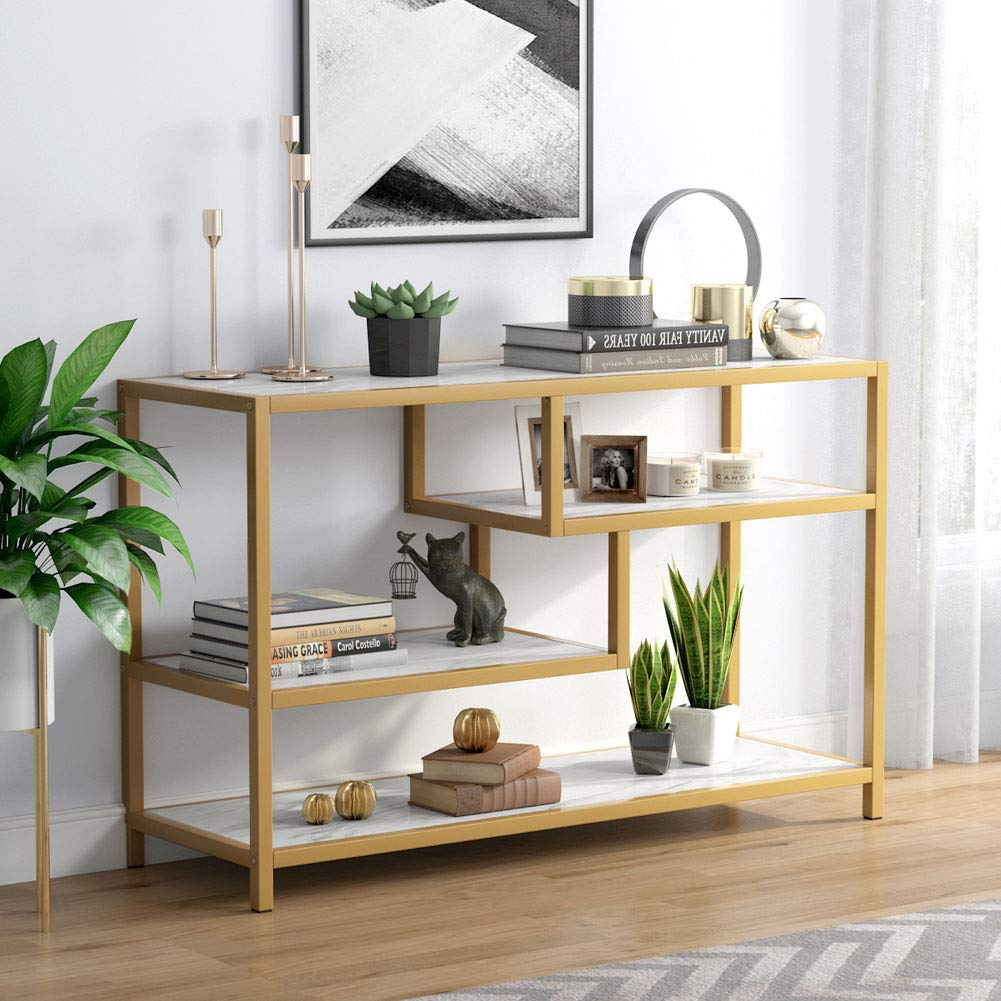 Tribesigns Gold Sofa Entry Table, 3-Tier TV Console Table with Faux Marble Top and Gold Metal Frame for Living Room Entryway by Tribesigns