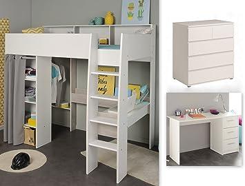 expendio Jugendzimmer Tomke 16 weiß 205x193x132 cm Hochbett ...