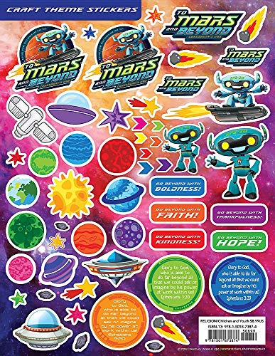 Vacation Bible School (VBS) 2019 To Mars and Beyond Craft Theme Stickers (Pkg of 12): Explore Where God's Power Can Take -