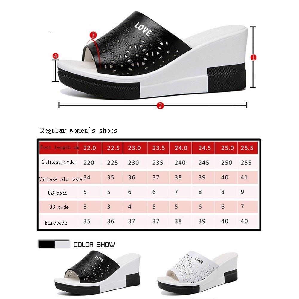 Sandalen Abnutzung GYHDDP Weiblicher Sommerabhang mit Abnutzung Sandalen hochhackigen Schriftarten und coolen Pantoffeln 2 Farben optionale Größe optional (Farbe : Weiß, größe : 38) Schwarz ce2f97