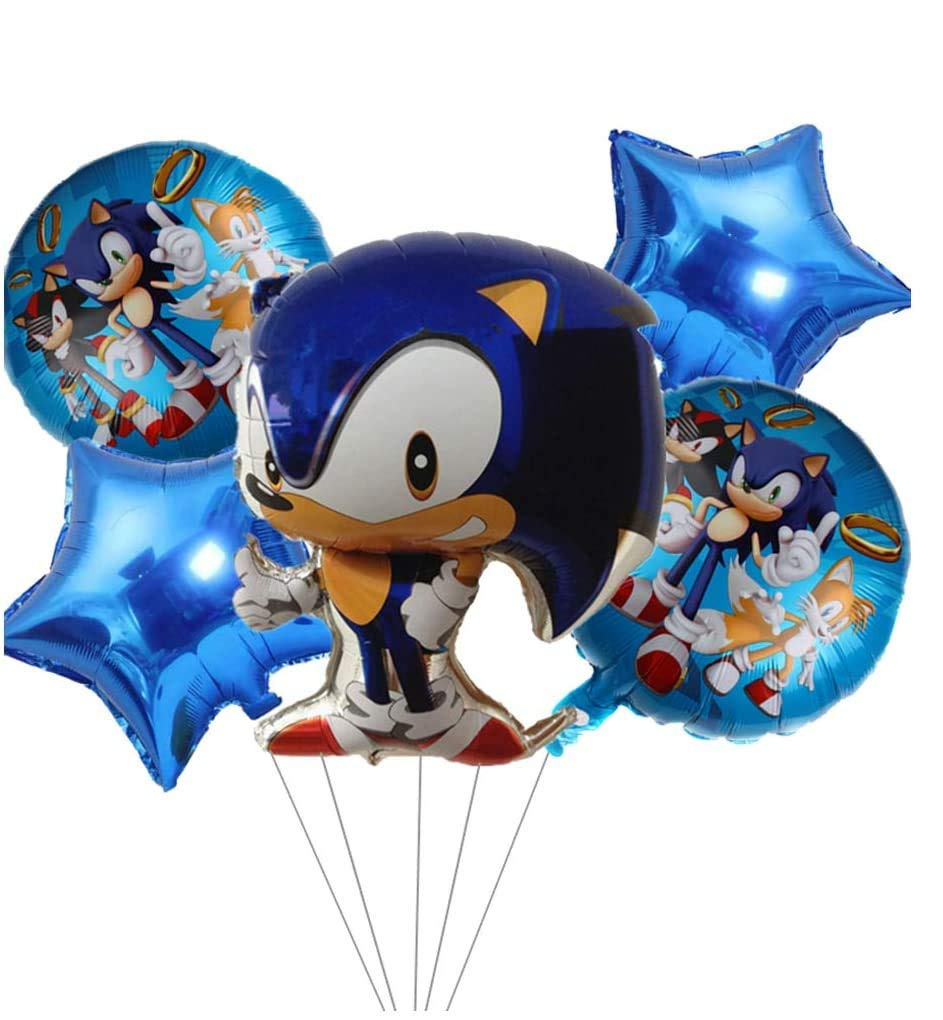 5 PCS Sonic The Hedgehog Party Supplies Sonic The Hedgehog Balloons for Birthday Party Baby Shower Decorations
