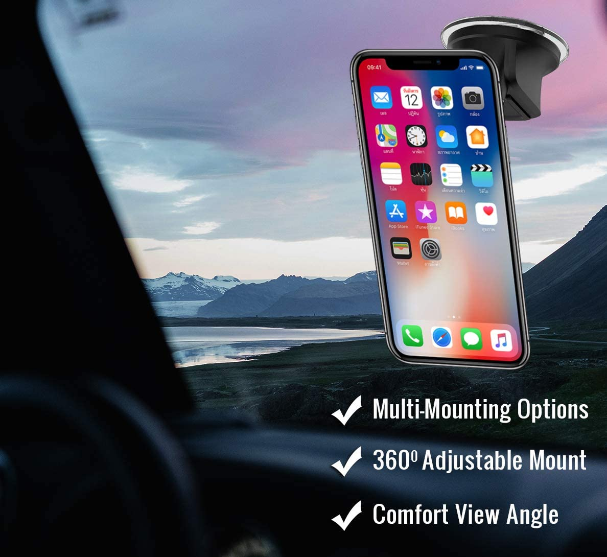 Magnetic Qi Certified Fast Charging Enabled Phone and GPS Suction Cup Adhesive Holder 360 Degree for Windshield Dashboard Window Mounting Crolan Wireless Car Charger Mount